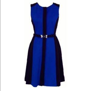 Vince Camuto Color block front button blue Dress